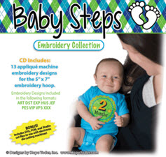 Baby Steps Embroidery CD with SVG Files - More Details
