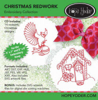 Christmas Redwork Embroidery CD with SVG Files - More Details