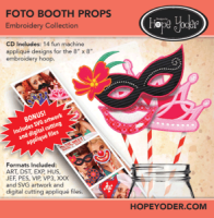 Foto Booth Props Embroidery CD with SVG Files - More Details
