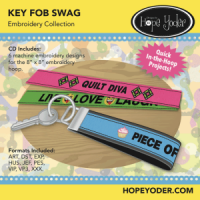Key Fob Swag Embroidery CD with SVG Files - More Details