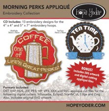 Morning Perks Applique Embroidery CD with SVG Files - More Details
