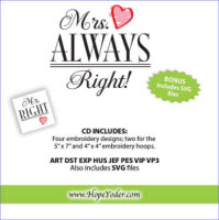 Mr Right & Mrs Always Right Embroidery CD with SVG Files - More Details