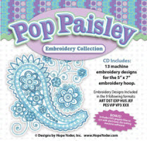 Pop Paisley Embroidery CD with SVG Files - More Details