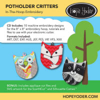 Potholder Critters Embroidery CD with SVG Files - More Details