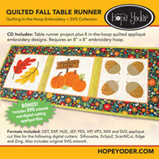 Quilted Fall Table Runner Embroidery CD with SVG Files - More Details