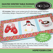 Quilted Winter Table Runner Embroidery CD with SVG Files - More Details