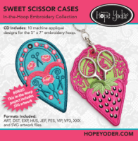 Sweet Scissor Case Embroidery CD with SVG Files - More Details