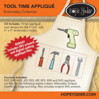 Tool Time Applique Embroidery CD with SVG Files - More Details