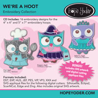We're A Hoot Embroidery CD with SVG Files - More Details