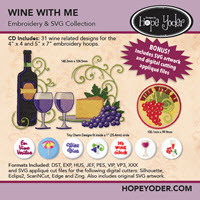 Wine with Me Embroidery CD with SVG Files - More Details
