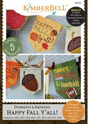 Pennants and Banners: Happy Fall Y'All Embroidery CD - More Details